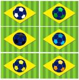 Iconos del vector del fútbol del Brasil Fotografía de archivo libre de regalías