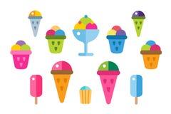 Iconos del vector del helado fijados Fotografía de archivo