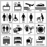 Iconos del vector del hotel y de la estación fijados Imagen de archivo libre de regalías