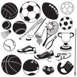 Iconos del vector del negro de la bola del deporte libre illustration