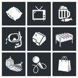 Iconos del vector del ocio fijados Foto de archivo libre de regalías