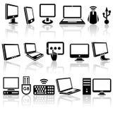 Iconos del vector del ordenador fijados. EPS 10. ilustración del vector