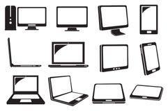 Iconos del vector del ordenador y del ordenador portátil