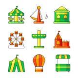 Iconos del vector del parque de atracciones Foto de archivo libre de regalías