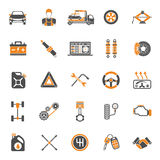 Iconos del vector del servicio del coche fijados Imagen de archivo