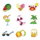 Iconos del vector del verano Fotos de archivo libres de regalías