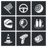 Iconos del vector el competir con auto fijados Imagen de archivo libre de regalías