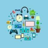 Iconos del vector en estilo plano Artículos y artilugios del flujo de trabajo del negocio o de la educación Iconos del lugar de t Foto de archivo