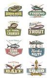 Iconos del vector del equipo del club y del pescador de la pesca libre illustration