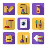Iconos del vector fijados de economía doméstica Imagenes de archivo