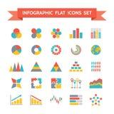 Iconos del vector fijados de Infographic en pocilga plana del diseño stock de ilustración