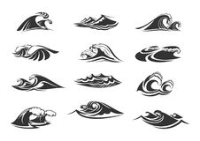 Iconos del vector fijados de olas oceánicas libre illustration