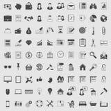 Iconos del vector fijados en un color Oscuridad en luz Imagen de archivo
