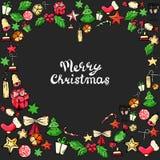 Iconos del vector del garabato del Año Nuevo de la Navidad Mano drenada Caramelo del árbol de navidad, campana de la Navidad, est libre illustration