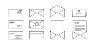 Iconos del vector para los sobres del ordenador con las letras Fotos de archivo