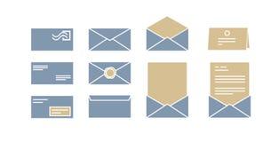 Iconos del vector para los sobres del ordenador con las letras Fotografía de archivo libre de regalías