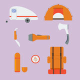 Iconos del vector que acampan Foto de archivo
