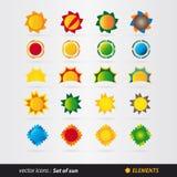 Sistema del vector del sol Fotos de archivo