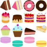 Iconos del vector: Torta dulce linda Imagen de archivo
