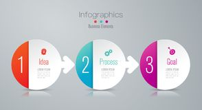 Iconos del vector y del m?rketing del dise?o del infographics de la cronolog?a, concepto del negocio con 3 opciones, pasos o proc libre illustration
