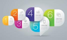 Iconos del vector y del negocio del diseño de Infographics con 6 opciones stock de ilustración