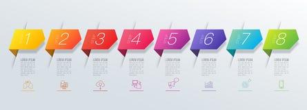 Iconos del vector y del negocio del diseño de Infographics con 8 opciones libre illustration