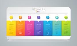 Iconos del vector y del negocio del diseño de Infographics con 7 opciones stock de ilustración