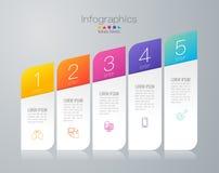 Iconos del vector y del negocio del diseño de Infographics con 5 opciones stock de ilustración