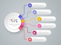 Iconos del vector y del negocio del diseño del infographics de la cronología con 6 opciones ilustración del vector
