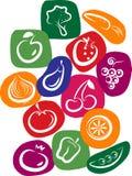 Iconos del vehículo y de la fruta en fondo colorido Imagenes de archivo