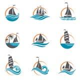 Iconos del velero y del yate Fotos de archivo