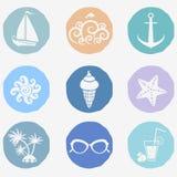 Iconos del verano Imagen de archivo libre de regalías