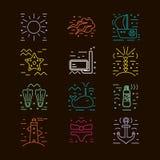 Iconos del verano Elementos marinos del diseño Fotografía de archivo libre de regalías