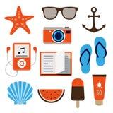 Iconos del verano en estilo plano del diseño Fotos de archivo