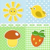 Iconos del verano en fondo de la materia textil Fotografía de archivo libre de regalías