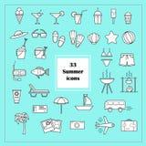 33 iconos del verano en vector ilustración del vector
