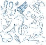 Iconos del verano fijados Imagen de archivo
