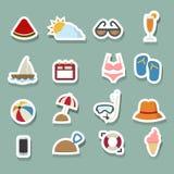 Iconos del verano fijados stock de ilustración