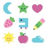 Iconos del verano fijados Imagen de archivo libre de regalías