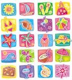 Iconos del verano fijados Foto de archivo