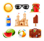 Iconos del verano y de la playa Fotografía de archivo libre de regalías