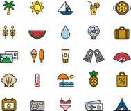 Iconos del verano y de las vacaciones Foto de archivo libre de regalías