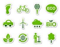Iconos del verde/del eco Fotos de archivo
