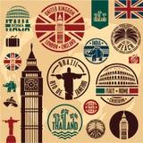Iconos del viaje. stock de ilustración