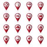 Iconos del viaje con el icono de la ubicación Fotos de archivo libres de regalías