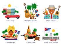 Iconos del viaje de Cuba fijados stock de ilustración