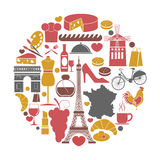 Iconos del viaje de Francia y cartel de visita turístico de excursión de las señales del vector ilustración del vector