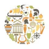 Iconos del viaje de Grecia y cartel de visita turístico de excursión de las señales del vector Fotografía de archivo libre de regalías