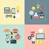 Iconos del viaje, de la ciencia y del negocio Imágenes de archivo libres de regalías