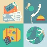 Iconos del viaje de las vacaciones fijados Imagen de archivo libre de regalías